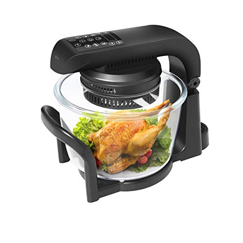 74 QT Air Fryer Oven 9 Mode Glass Air Fryer Toaster Oven with LED Digital Touch Screen 1200W Oilless Convection Oven Fryer Cooker with Recipes Food Holder Pan Clip Pizza Pan Black