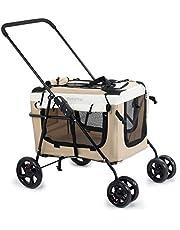 Display4top Wózek dziecięcy dla zwierząt domowych, podróżny, z zamkami błyskawicznymi, pluszowa poduszka do włosów, 2 x do wnętrz, przewiewny daszek