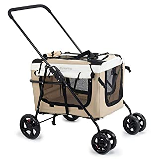 Display4top Pet Travel Stroller Dog Cat Pushchair Pram Jogger Buggy w/Locking Zippers Plush Nap Pillow 2X Interior Room Airy Windows Sunroof Reduces Anxiety 24