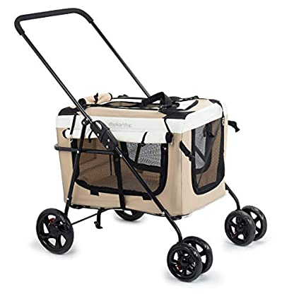 Display4top Pet Travel Stroller Dog Cat Pushchair Pram Jogger Buggy w/Locking Zippers Plush Nap Pillow 2X Interior Room Airy Windows Sunroof Reduces Anxiety 1