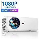 Proiettore Portatile per smartphone Mini Videoproiettore Full HD 4600 Lumen 1080P Compatib...