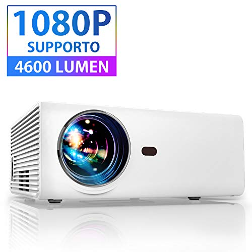Proiettore Portatile per smartphone Mini Videoproiettore Full HD 4600 Lumen 1080P Compatibile Android/Tv/Usb/Hdmi/Laptop