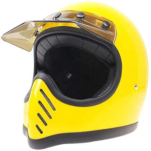 ZHXH Full Face Motorradhelm, Erwachsenen Retro Fiberglas Four Seasons Universal Herren und Damen Motorrad Full Face Helm Dot/ece Approved.