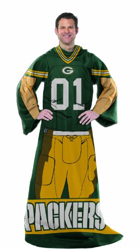 """NFL Green Bay Packers Adult Comfy Throw Blanket with Sleeves, 48"""" x 71"""""""