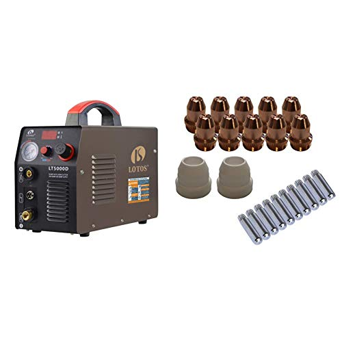 "Lotos LT5000D Plasma Cutter 50Amps Dual Voltage Compact Metal Cutter 110/220V AC 1/2"" Clean Cut & Technology LCS22 Plasma Cutter Consumables Sets for Brown Color LT5000D and Brown Color CT520D"