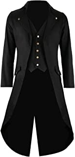 Mens Black Vintage Tailcoat Jacket Fancy Cool Cosplay Costume Robe