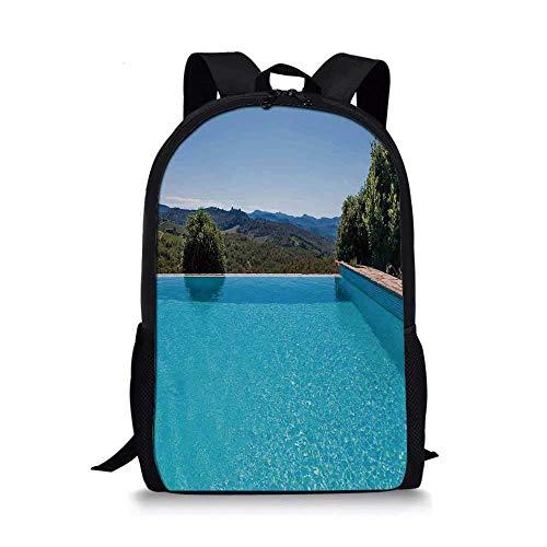 AOOEDM Backpack House Decor Stilvolle Schultasche, Swimmingpool mit Blick auf die natürliche Landschaft Sonniger Sommerurlaub für Jungen, 11 '' L x 5 '' B x 17 '' H.