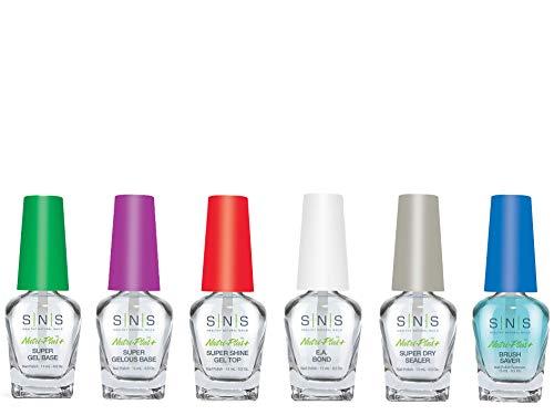 SNS Nails Dipping Liquid Gel Base, Gel Top, Sealer Dry, Brush Saver, EA Bond, Set of 6