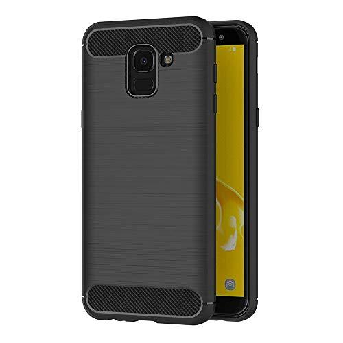 AICEK Samsung Galaxy J6 Hülle, Schwarz Silikon Handyhülle für Samsung Galaxy J6 2018 Schutzhülle Karbon Optik Soft Hülle (5,6 Zoll)