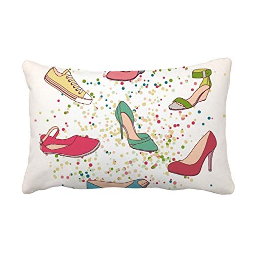 DIYthinker Kleurrijke Cartoon Hoge hakken Schoenen Patroon Gooi Lumbar Kussen invoegen Kussen Cover Home Sofa Decor Gift