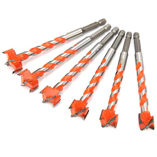 Hole Saw Drill Bits Set, Wood Cutter Alloy Opener, Lengthened Thread Woodworking Hole Opener Drilling Tools Orange