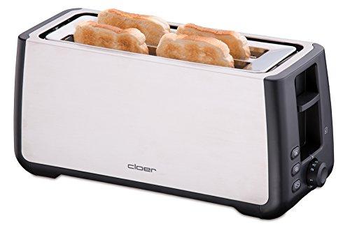 Cloer 3579 King-Size Toaster für 4 XXL Scheiben/Check-Funktion/Edelstahlgehäuse / 1500 Watt/schwarz Kunststoff