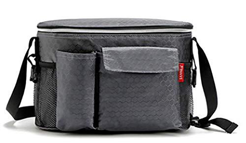 Oxford sacs à lunch thermique pour les femmes adultes hommes nourriture déjeuner pique-niquer refroidisseur sac de stockage isolé avec sac de bouteille,Gray