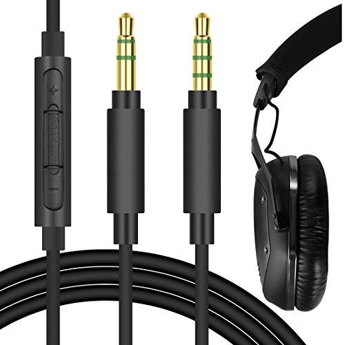 Geekria QuickFit 3,5-mm-Stereo-Kabel für V-MODA Crossfade LP, Crossfade 2, LP2, LP, M-100, M-80, Koss ProDj200 Kopfhörer – Ersatz-Audiokabel mit Mikrofon und Lautstärkeregler (schwarz, 1,7 m)