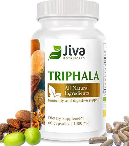 Triphala Capsules 500mg – Extra Strength Immunity, Digestive Support and Colon Cleanser – Optimized Formula Amalaki (Amla), Bibhitaki and Haritaki Triphala Powder Plus Extract - by Jiva Botanicals