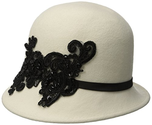 San Diego Hat Company Women's Wool Felt Cloche Hat with Sequin Lace Aplique Trim, Ivory, One Size