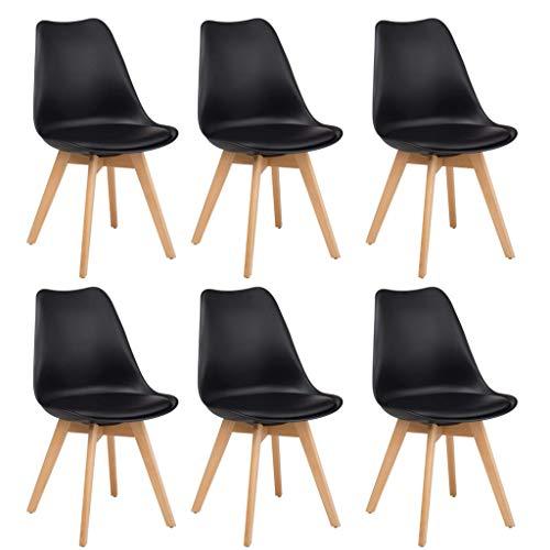 Milani Home s.r.l.s. Set di 6 Sedie di Design Moderne in Polipropilene Nero E Legno Massello di Faggio per Sala da Pranzo Locale Bar Ristorante
