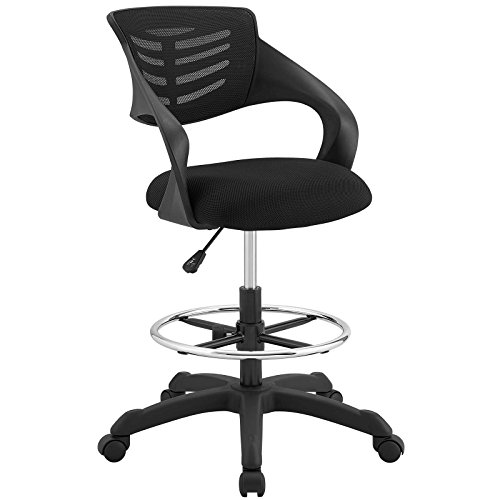 Modway Thrive Drafting Chair - Tall Office Chair for Adjustable Standing Desks in Black