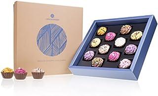 Square Maxi - 12 Cupcake-Pralinen in edler Verpackung | Luxus Pralinen | Sonderedition Süßes aus der Confiserie | Luxuspackung | Geschenkidee | Geschenke für erwachsene | Frauen | Männer