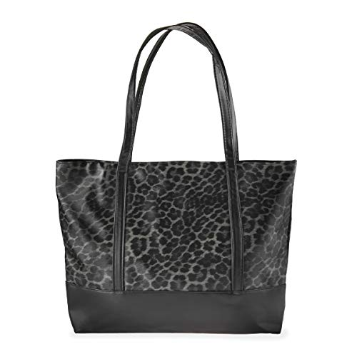 Versatile Vegan Leatherette Tote Bag - Faux Leather Purse Canvas Detachable Shoulder Strap, Leopard, Snake Print Shopper (Leatherette Shopper - Leopard Gray)