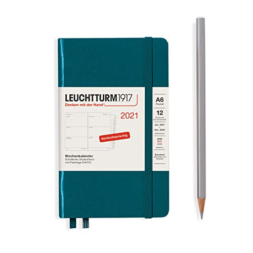 LEUCHTTURM1917 Wochenkalender 2021 Hardcover Pocket (A6), 12 Monate, Pacific Green, Deutsch