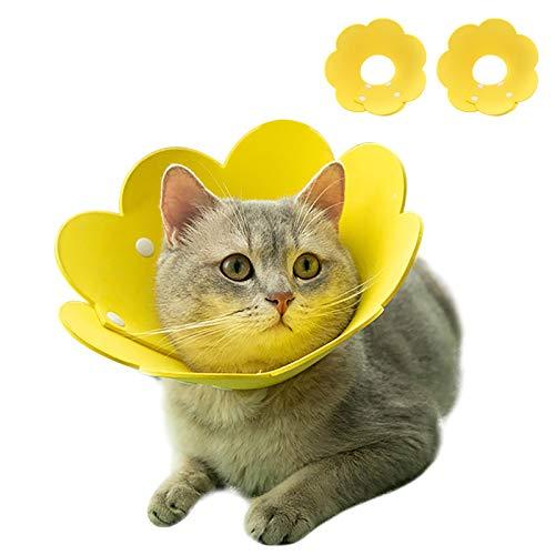 PUMYPOREITY 2 Stücke Schutzkragen Katze Halskrause Haustiere Verstellbares Weiches Halsban Schützender Kragen für Schützender Kragen Genesung nach Wunde Katzen Hunde(Gelb)