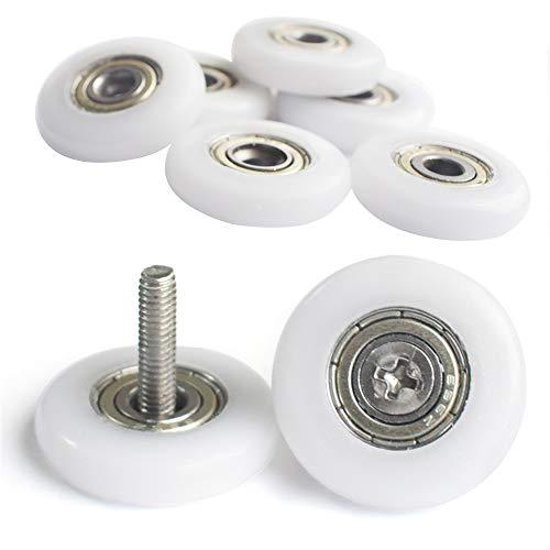 YUANQIAN Rodillos de ducha para puerta de ducha, 19 mm, ruedas de ducha, ruedas para cubículo de ducha, 8 piezas con tornillos