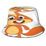 TTLUCKY Sombrero de Pesca,Ardilla de Dibujos Animados Lindo agitando Vector de Pata,Senderismo para Hombres y Mujeres al Aire Libre Sombrero de Cubo Sombrero para el Sol