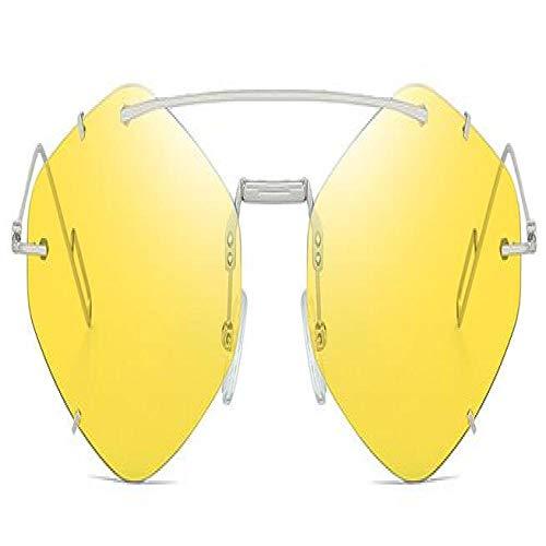 Sunglasses Gafas De Sol Sin Marco Mujeres Hombres Moda Diseño De Marca Sunglass Uv400 Gafas De Sol Hexagonales Plateadas