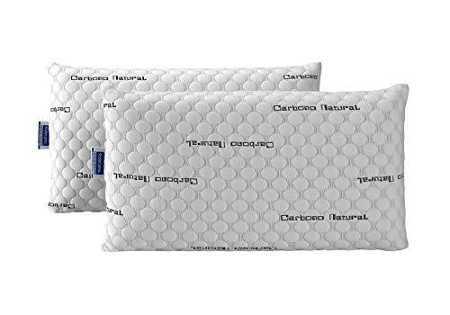 Todocama - Almohada viscoelástica Carbono con Copos 100% viscoelásticos. Tejido Strech de Carbono. Firmeza Media - Alta. (Todas Las Medidas Disponibles) (90 cm)