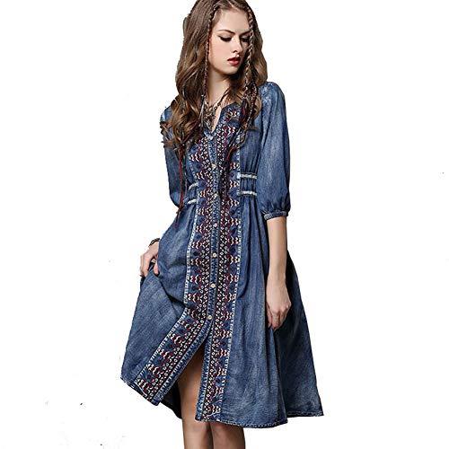 Jsix Moda Abito di Jeans Corto Maniche Lunghe Casuale Vestito dal Denim Casuale Dress (S)
