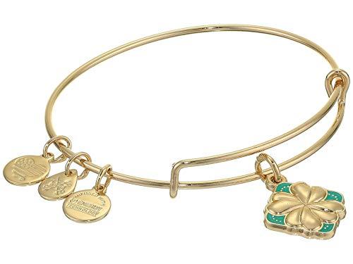 Alex and Ani Color Infusion Bangle Bracelet Gold/Four Leaf Clover One Size, Shiny Gold (A20EBSP03SG)
