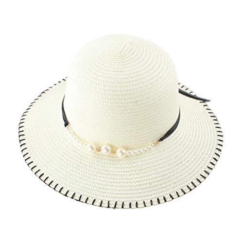 Multifit Women's Floppy Foldable Straw Sunhat Summer Beach Packable Bucket Hat Cap with Bead Decoration for Travel(White 1)