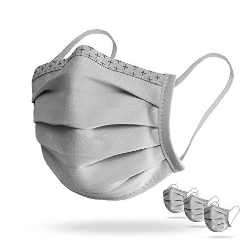 Isko Vital Supreme Gesichtsschutz in Grau – Waschbarer Mundschutz mit Nasenbügel aus Bio-Baumwolle – Für Damen und Herren – 3 einzeln verpackte Masken in der Größe L