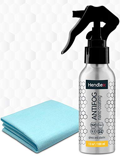 Hendlex Nano Antifog Spray per Vetri Auto e Moto Visor 100 ml - Spray Antiappannante Auto (100ml)