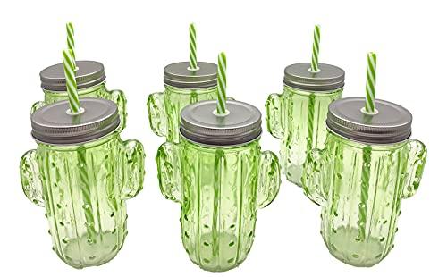Lote 6 Jarras cactus verdes con tapa y pajita – Jarritas cristal