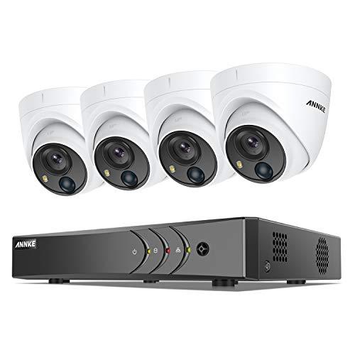 ANNKE 8CH PIR 5MP kit de DVR Système Surveillance H.265 Pro+,No HDD avec 4 Caméras de Vidéosurveillance sécurité intérieur/extérieur,IP67 imperméable Vision Nocturne 100ft