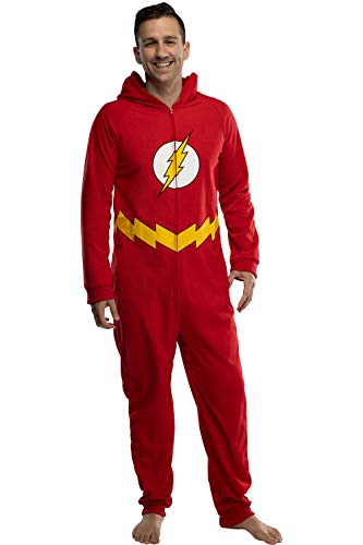 DC Comics Mens' The Flash Superhero Character Hooded Union Suit Footless Pajamas Costume (Flash, S/M)