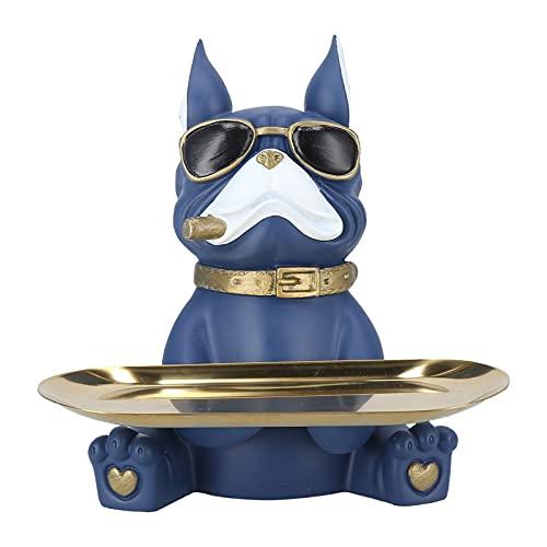 TAKE FANS Figura de perro, bandeja de almacenamiento de resina, escultura de animales, soporte para llaves, tazón, hogar, salón, dormitorio, entrada, decoración