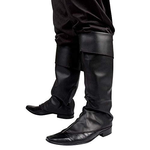 Boland 81996 - Stiefelstulpen schwarz, Stiefelüberzieher , Kunstleder, Pirat, Musketier, Bandit, Räuber, Karneval, Halloween, Fasching, Mottoparty, Verkleidung, Theater