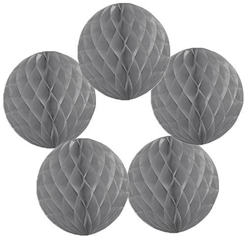Time to Sparkle 5 Pack Tissue Paper Honeycomb Balls Table Centrepiece Lantern Garland Wedding Decoration | Ball-silver Grey, 4'(10cm) |