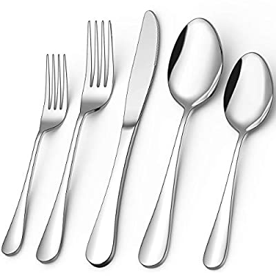 40-Piece Silverware Set, Umite Flatware Cutlery Set Fit for Home/Hotel/Restaurant, Service for 8, Mirror Polished, Anti-rust, Dishwasher Safe