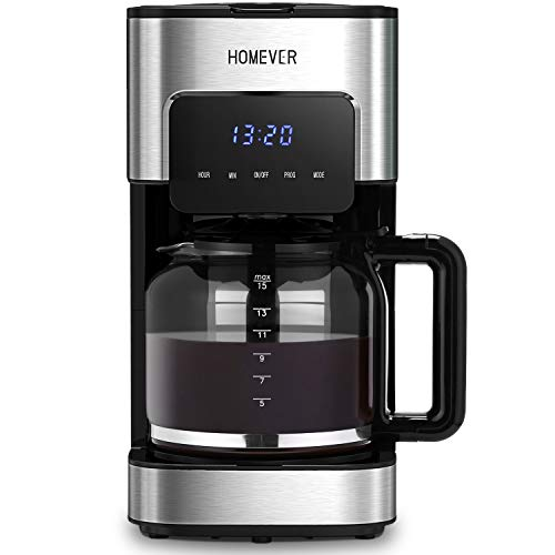 Kaffeemaschine, Homever Filterkaffeemaschine mit Timer und Permanentfilter, Kaffeemaschinen mit Anti-Drip-Funktion, bis zu 12 Tassen, Touchscreen und Hochwertiger Edelstahl, silber-schwarz (Silber)