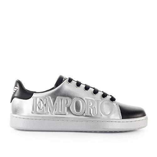 Emporio Armani Damenschuhe Sneaker Silver Black FW 19-20