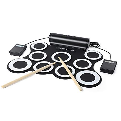 QINAIDI Elektronisches Schlagzeug mit 7 beschrifteten Pads und 2 Fußpedalen, klappbare Handrolle, elektronisches Schlagzeug, Musikinstrument,Black