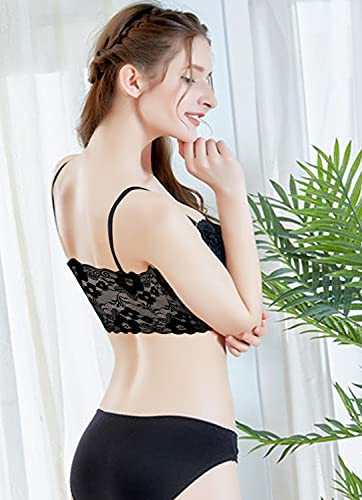 CONTEX MEDIA Women's Silky Lace Net Lightly Padded Non-Wired Bralette Bra (Size :28 to 32) (B, Black, 32)
