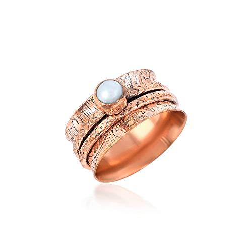 Anillo giratorio de plata de ley 925 con piedra preciosa perla, anillo giratorio de meditación, anillo giratorio hecho a mano para el pulgar, Boho