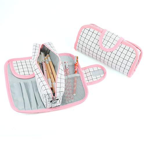 iSuperb ペンケース 取り外し可能 大容量4種類 筆箱 小物収納 贈り物 ギフト ペン入れ 学生用 高級 オフィス用 (�K白格子)