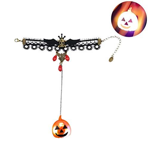 Weesey Halloween Glowing Armband, Spooky Halloween Charms Schädel Fledermaus Hand Kette Kürbis Glowing Lady Armband Halloween Party Zubehör Armband Halloween für Frauen