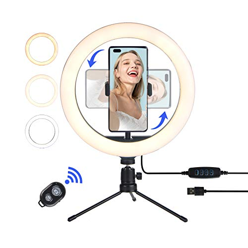 TrendGate 10' LED Ring Light with Tripod Stand, Dimmable Ring Light with Phone Holder, Selfie Ring Light 3 Colors & 10 Brightness Level for Youtube Video, Makeup, Photography, Live Streaming, Tiktok